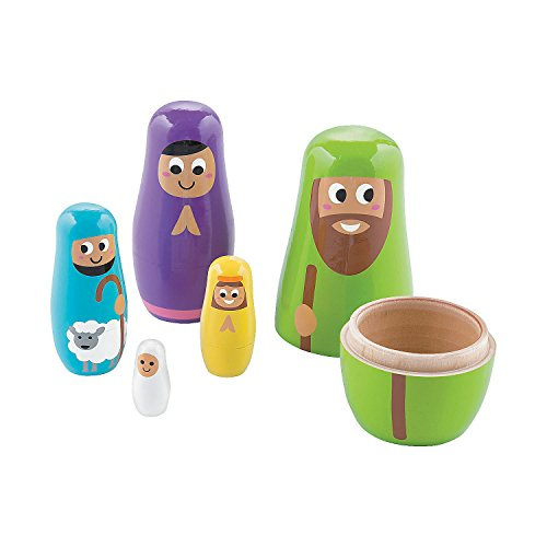 Fun Express Nativity Wooden Nesting Dolls Playset Joseph, Mary, Shepherd, Angel, Baby Jesus