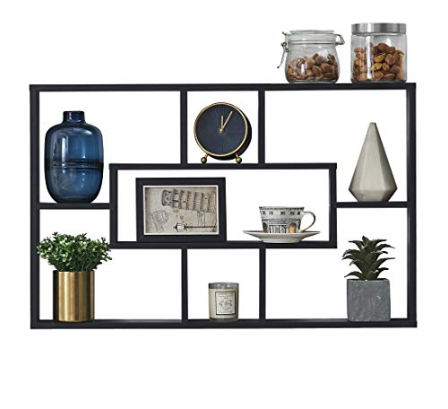 O&K FURNITURE 30-Inch Geometric Wall Mounted Floating Shelf with 7 Cubes, Picture Display Wall Cube Shelf, Black Oak Finish, 30