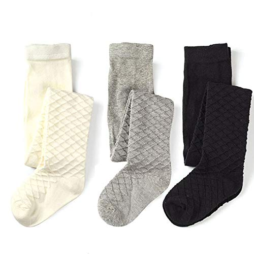 School Kids Girls Cotton Knit Tights Waffles Pattern (Black White Grey, 9-10y Height 52