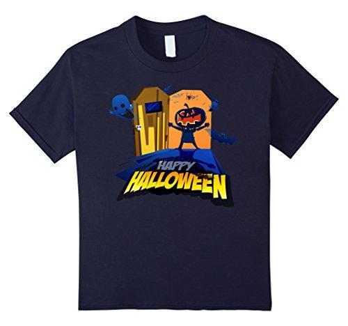 Kids Happy Halloween Door Greeting Scary Pumpkin Head T-Shirt 12 Navy