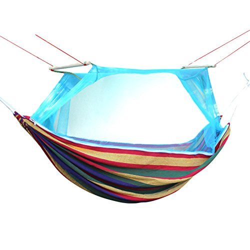 Price comparison product image Outdoor mosquito nets hammock camping for two color padded canvas swing hammock swing chair Park stripe,blue