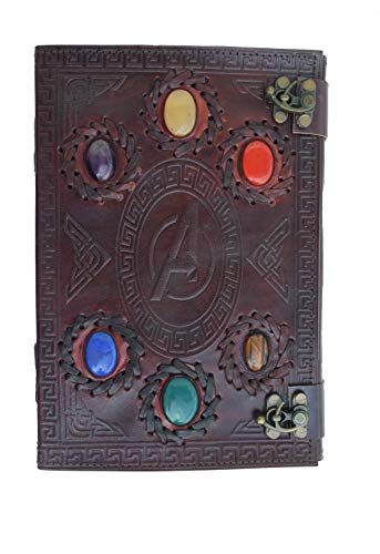 Avengers embossed 10 inches Handmade Leather Journal With Stones/Art Sketchbook & Travel dairy with Vintage lock Latch