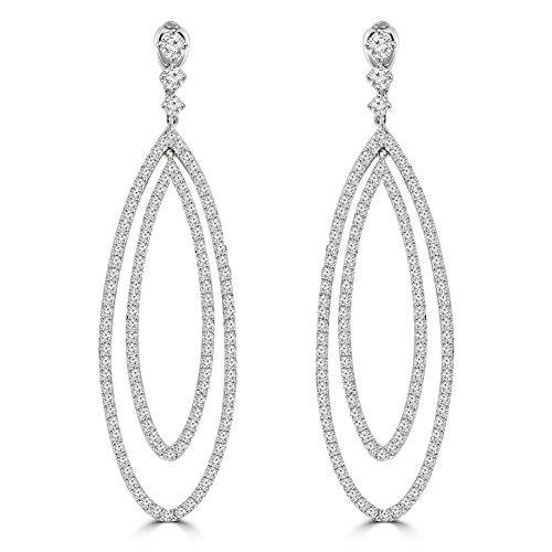 4.55 ct Ladies Round Cut Diamond Dangling Chandelier Earrings In 14 Kt White Gold