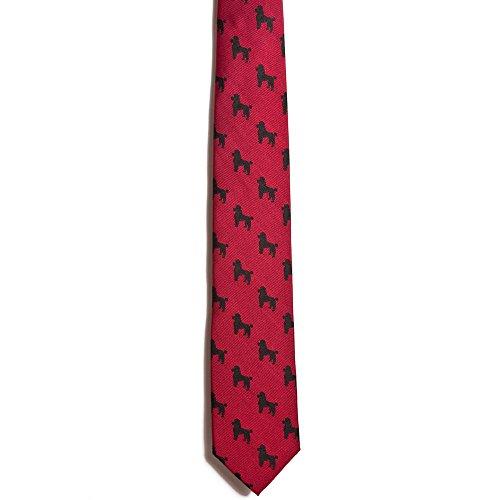 Black Background Necktie (Chipp 2 Black Poodle Silk Necktie with Deep Red Background)