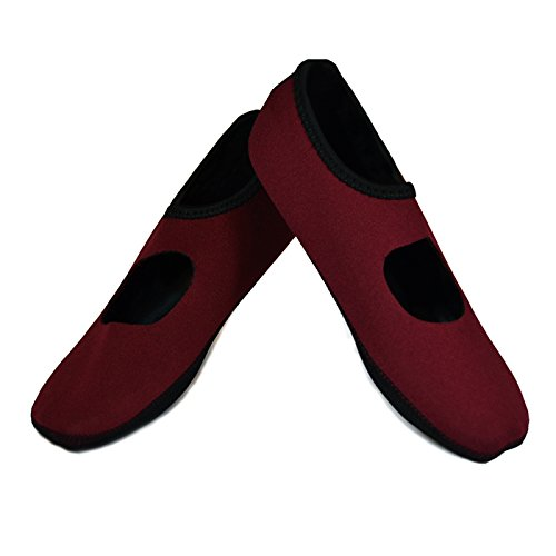 NuFoot Mary Janes Women's Shoes, Best Foldable & Flexible Flats, Slipper Socks, Travel Slippers & Exercise Shoes, Dance Shoes, Yoga Socks, House Shoes, Indoor Slippers, Crimson, Large
