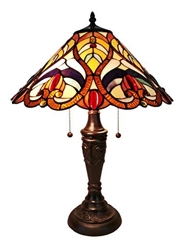 (Amora Lighting AM233TL16 Victorian Tiffany Style Table Lamp, 24
