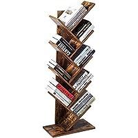 Estantería de madera para libros con 8 estantes, estantería de cubos marrón,…