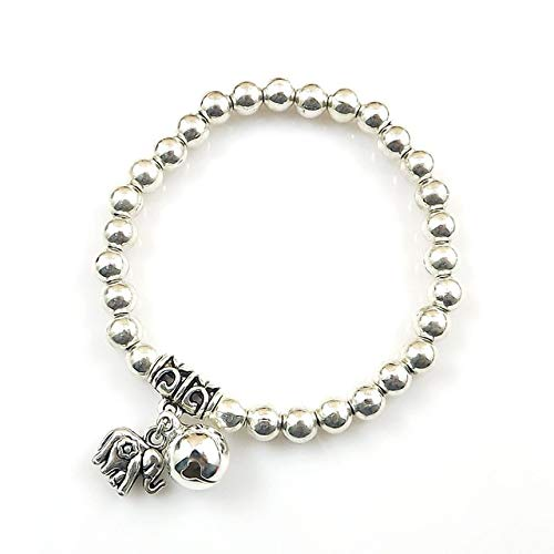 (Gabcus Retro Chap Design Tibetan Silver Plated Ball Beads Jingle Bell Elephant Charm Bangle Bracelet - (Metal Color: Antique Silver Plated, Main Stone Color:))