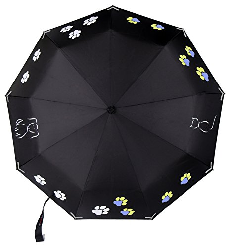 Premium Color Changing Umbrella with Reflective Safety Strips, Auto Open/Close and Windproof Design (Print Umbrella)