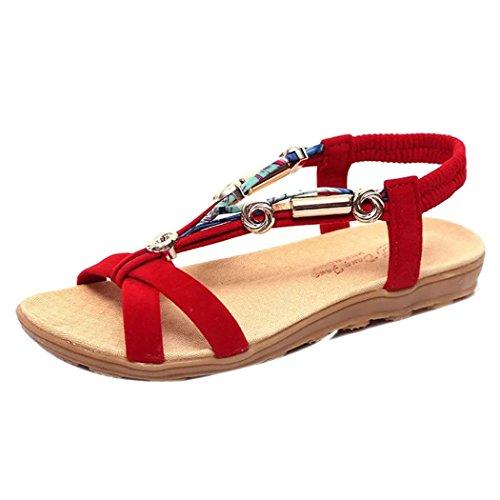 Sandali Estivi, Sandali Estivi Donna Inkach Sandali Romani Da Donna Flip Flopspeep-toe Low Shoes Rosso