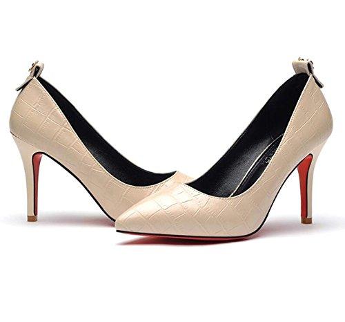 Tip Pie Beige con y individuales Zapatos mujer zapatos de KHSKX tacón Zapatos Zapatos alto Finos 39 mujer de 9Cm ligeros de Spring fRWtF