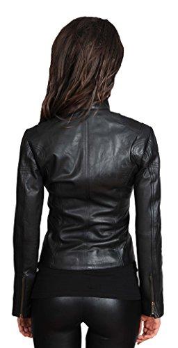 Décontractée Fermez Manteau Des Femmes Motard Veste Jenny Ajusté Noir De Cuir 0nwnfaqz