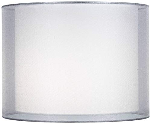 Silver and White Double Sheer Shade 12x12x9 (Spider) - Springcrest ()