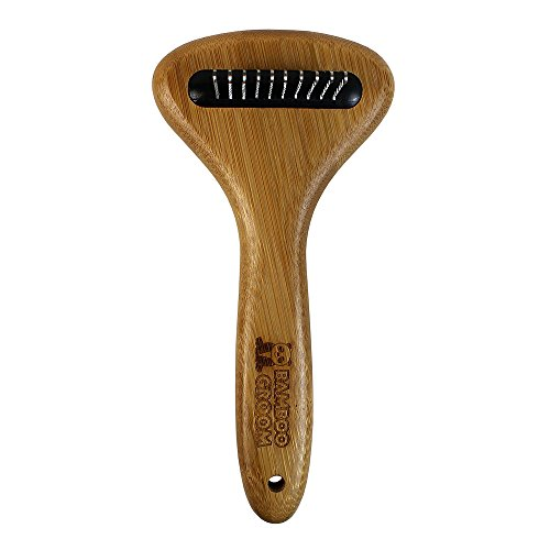 Bamboo Groom Dematting Rake with Stainless Steel Serrated Blades for Pets, Small/Medium by Bamboo Groom (Image #1)