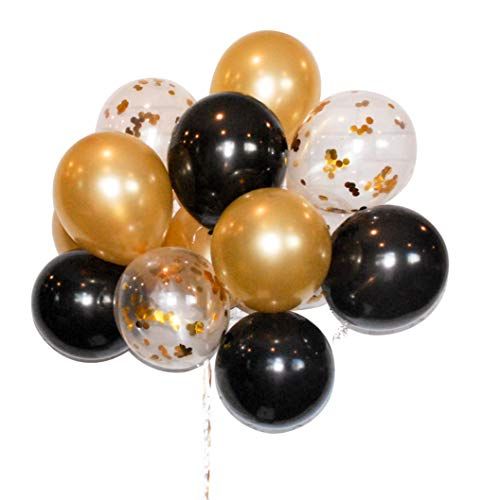 HomyBasic Gold Confetti 12 inch Latex Balloons Bulk Set 40 with 50M Ribbon, Blow helper for Parties, Anniversary, Wedding, Decorations, Birthday Party Supply (Gold, Black, Clear Balloon with confetti) -
