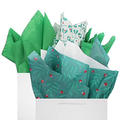 Green Tissue Paper Gift Wrapping 60 Sheets Set Green Clover & Red Berries Patterns Premium Recyclable Bulk, 26