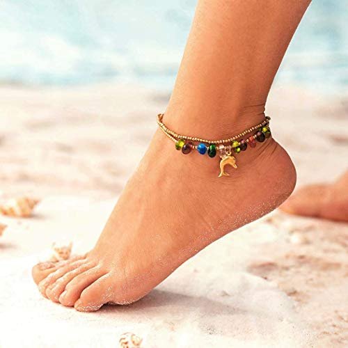 Zoestar Boho Dolphin Anklet Bracelet Gold Beaded Ankle Double Layer Foot Jewelry Accessories for Women and Girls
