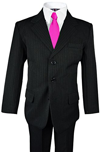 - Boys Pinstripe Suit with Matching Tie Size 2-20 (12, Black with Fuchsia Tie)