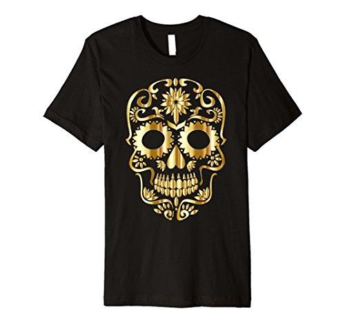 [Mens Sugar Skull Halloween t shirt Large Black] (Dress Up For Men)