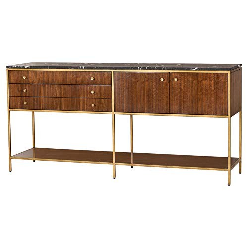 - Kathy Kuo Home Maison 55 Copeland Mid Century Walnut Gold Trim Marble Top Buffet