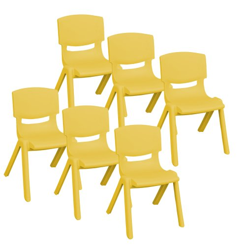 12 School Chair Stack (ECR4Kids School Stack Resin Chair, 12-Inch, 6-Pack, Canary Yellow)