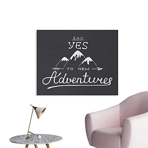homehot Adventure Funny Poster Say Yes to New Adventures Typographic Quote with Scribble Mountains Photo Wall Paper Charcoal Grey and White W48 xL32 ()