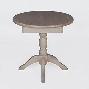 Esstisch Tisch Ausziehbar Rund O 80 25 Kiefer Massiv Grau