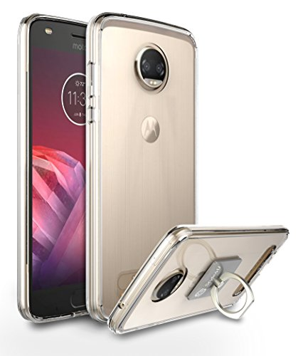 Moto Z2 Play Case, Style4U Scratch Resistant Shock Absorbent Ultra Slim Transparent Crystal Clear PC Back TPU Bumper Protective Case Cover for Motorola Moto Z2 Play + 1 Ring Holder Kickstand [Clear]