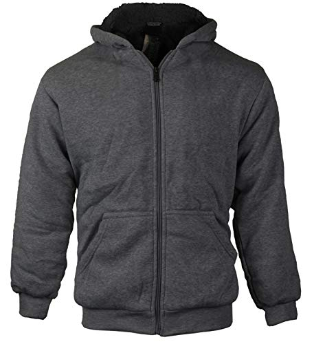 vkwear Boys Kids Athletic Soft Sherpa Lined Fleece Zip Up Hoodie Sweater Jacket (Small (8), Charcoal)