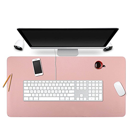 BUBM Desk Pad Protecter 35'' x 18'', PU Leather Desk Mat Blotters Organizer with Comfortable Writing Surface(Pink) by BUBM