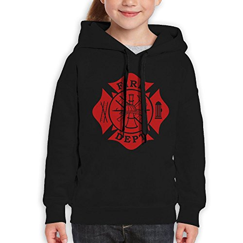 Price comparison product image FDFAF Teenager Youth Fire Dept Maltese Cross Camper Funny Hoodie Sweatshirt M Black