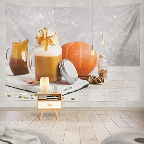 Summor Spicy Pumpkin with Spices and Cap Cream with Caramel and Pumpkin Seeds Autumn Autumn Drink Art Nature Home Decorations for Living Room Bedroom Dorm Decor 60X50 Inches
