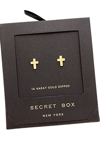 Rosemarie Collections Women's Petite Cross Religious Stud Earrings (14K Gold Dipped) ()