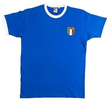 Retro Italia Fútbol camiseta nueva tallas S-XXL Logotipo Bordado - algodón, Azul, 100% algodón, Hombre, S: Amazon.es: Ropa y accesorios