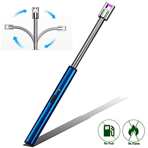 Elite Brands USA Plasma Arc Flexible Neck Rechargeable Windproof USB Trendy Lighter, Ideal for Gas Stovetop Candle Kitchen Grills BBQ, Flameless Without Butane, Electric Beam Lighter (Blue)