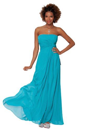 SEXYHER Gorgeous Encuadre de cuerpo entero sin tirantes de las damas de honor vestido de noche formal - EDJ1461 Turquesa