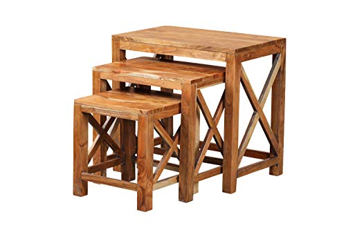 YoTreasure Solid Acacia Wood Nesting End Side Tables Set of 3 for Living Room,