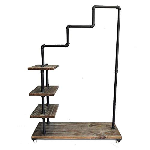 Diwhy Industrial Pipe Clothing Rack Pine Wood Shelving Shoes Rack Cloth Hanger Pipe Shelf 4 Layer by Diwhy (Image #1)