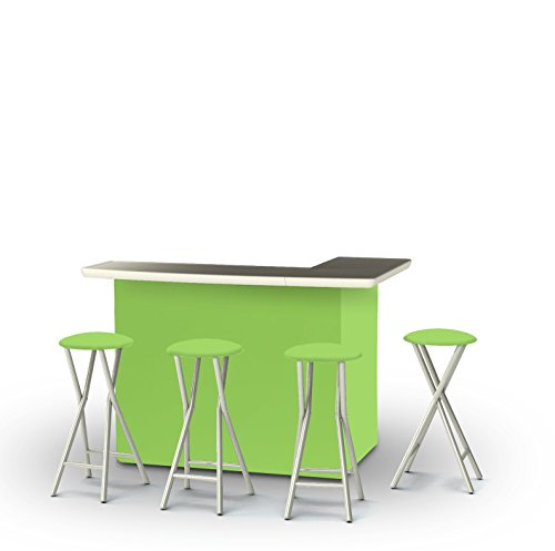 Best of Times Patio Bar & Tailgating Center Bar & Stools (Set of 4), Lime Green For Sale