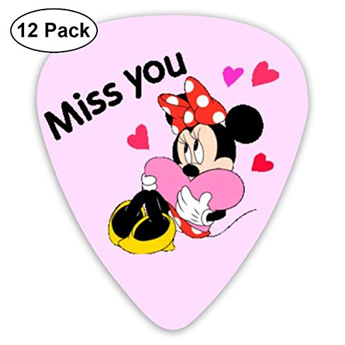(Shijiazhuangdezi Guitar Picks Trendy Miss You Minnie Mouse Print Celluloid Casual Guitar Picks 12 Pack)