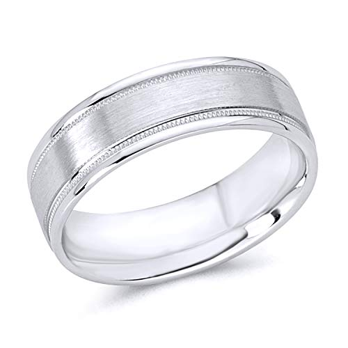 Wellingsale 14k White Gold Polished Satin 6MM Flat Milgrain Comfort Fit Wedding Band Ring - Size 9