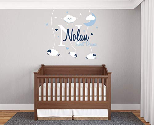 R02 Series - Custom Name & Initial clouds, moon, sweet dreams with sheeps - Handmade Series - Baby Boy - Wall Decal Nursery For Home Bedroom Children (R02)