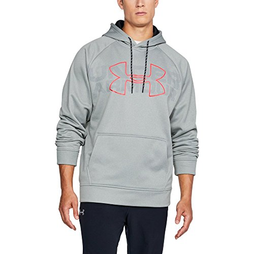(Under Armour Mens Armour Fleece Graphic Hoodie, True Gray Heather (025)/Marathon Red, Small)