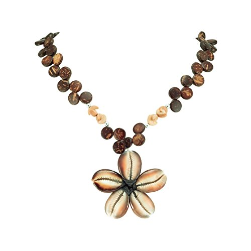 BlueRica Cowrie Kaput Shells Flower Pendant on Coconut Wood Disc Beads Necklace