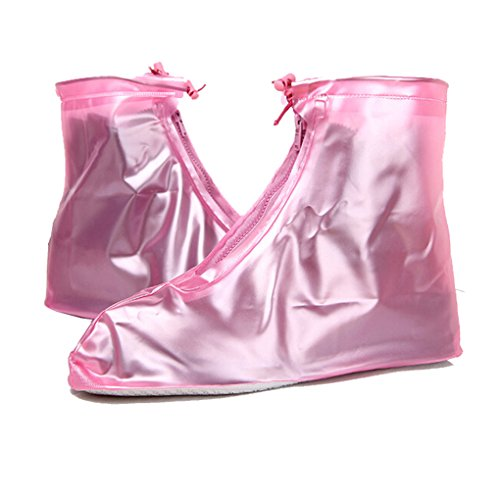 Rain Covers for Shoes, C.A.Z 1 Pair Unisex Reusable Waterproof Anti-Slip Shoes Cover Rain Snow Boots Covers Cycling Protective Gear Bike Riding Rain Boot Shoe Cover Slip-resistant Pink XXL - Realtors Ca