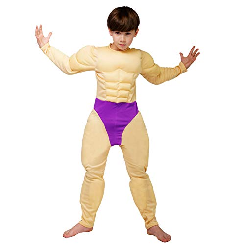 DSplay Boy's Muscle Suit Costume Jumpsuit (10-12Y)]()