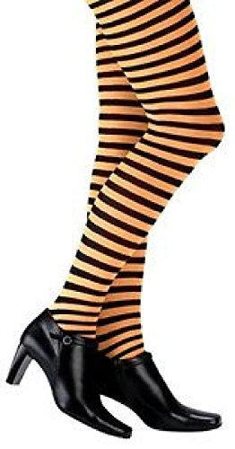 Child Orange and Black Striped Tights Witch Pantyhose Costume ()