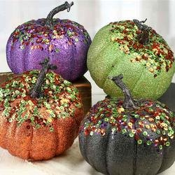 Factory Direct Craft Festive Purple Glittered and Sequined Foam Pumpkins for Indoor decor - 2 Pumpkins
