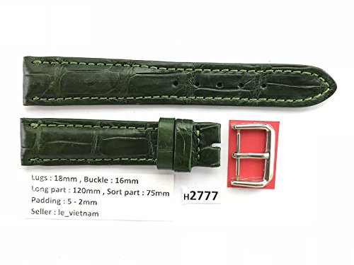18mm/16mm GREEN Genuine Crocodile Alligator Leather Skin Watch Strap Band Men H2777 (Green Crocodile Leather Watch)