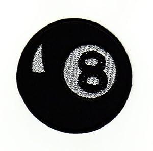 Billard Billiard Kugel Schwarz 8 Ball Aufnäher Bügelbild Aufbügler Iron on...